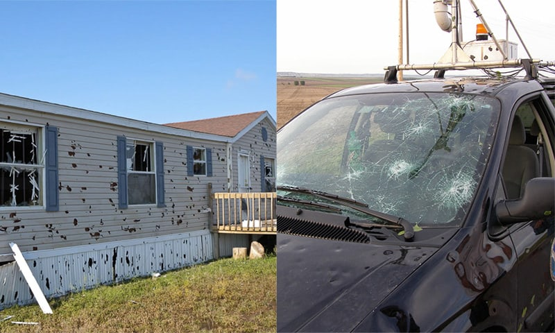 severe damage to a residence and automobile